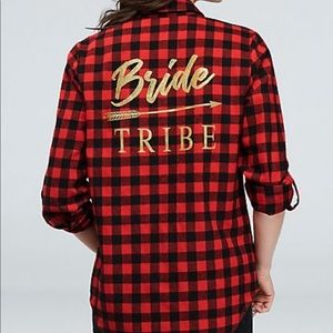 Flannel Check Bride Tribe Button Down Shirt
